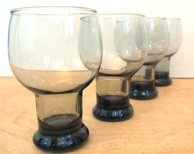 Beer Glasses Vintage Set 4 Vintage Bierglas Mid century Glass - Smoky Tint 16 oz Glass Beer Steiners - Retro Beer Glasses Barware