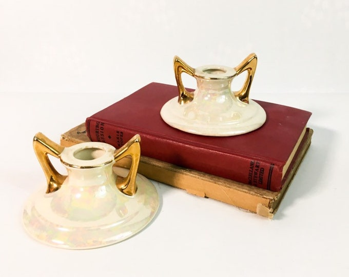 Pair Candlestick Holders Pearl China Comany - Vintage Set - Pearlized Finish w/ Gold - Pearl China Co