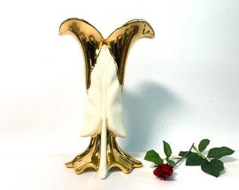 Vintage Nor-So 22K Gold Pottery Vase w/ Leaf Design  - Art Deco Style Retro Home Decor