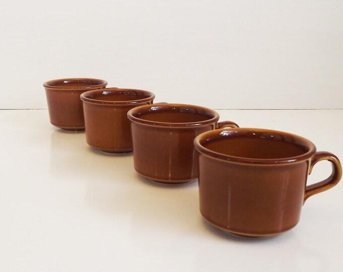 Vintage Set of 4 1960's China Dinerware / Restaurant Coffee Cups / Mugs - Brown Drip Glaze Ceramic - Mid Century - Stamped U.S.A.