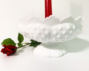 Vintage Fenton Milk Glass Colonial Hobnail 6 Candle Holder Bowl Pillar & 5 Tapers Retro Home Decor Circa 1960s-1970s Round