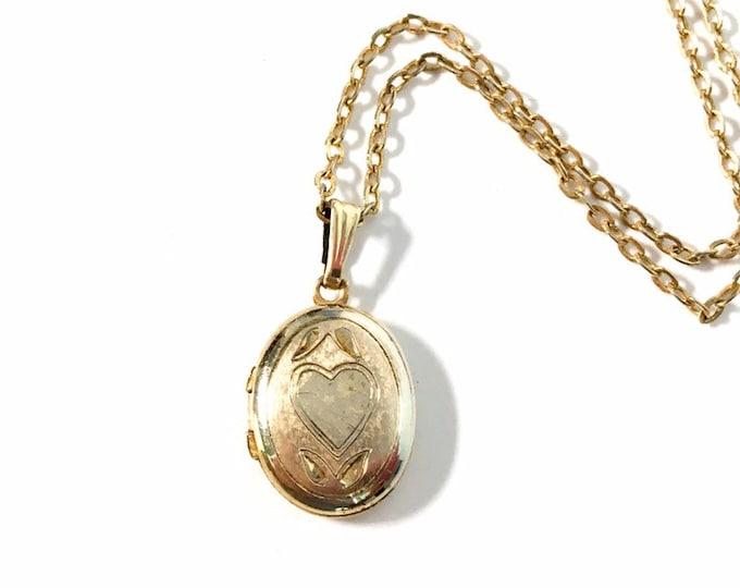 Vintage 14K Gold Filled Oval Locket w/ Etched Heart - Petite Pendant Child Sweetheart Locket Pendant