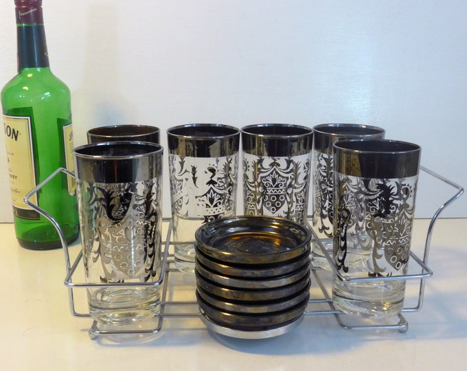 6 Century Sheild Metalcraft Craft Crystal Glasses & Coasters - Vintage Barware - Wedding Gifts Him - Mid century Glasses Coasters Carry Tote