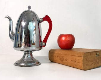 Vintage Art Deco Aluminum Coffee Pot w/ Red Lucite Plastic Handle - Retro Chrome Kitchen Ware