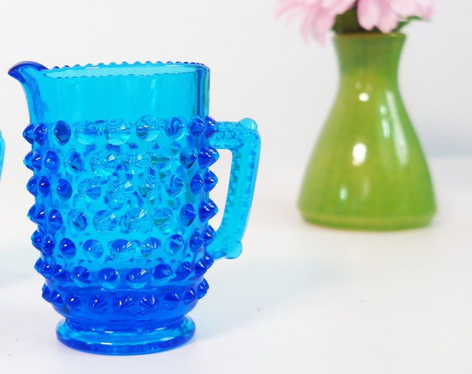 Vintage Colonial Blue Fenton Hobnail Mini Creamer - One or Two Retro Blue Hobnail Glass Sugar & Creamer Set - 2 Available - Circa 1964-1979