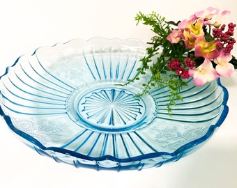 Vintage Mayfair Blue Low Bowl by Anchor Hocking Depression Glass - 1930s Light Blue Dish Plate Serving Kitchen Decor