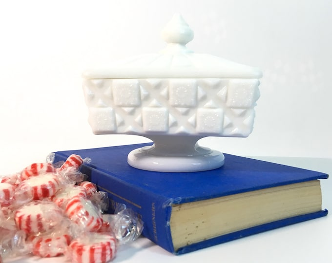 Vintage Westmoreland White Old Quilt Pedestal Dish & Lid - Retro Milk Glass Compote Home Decor - Candy Dish w/ Textured Glass