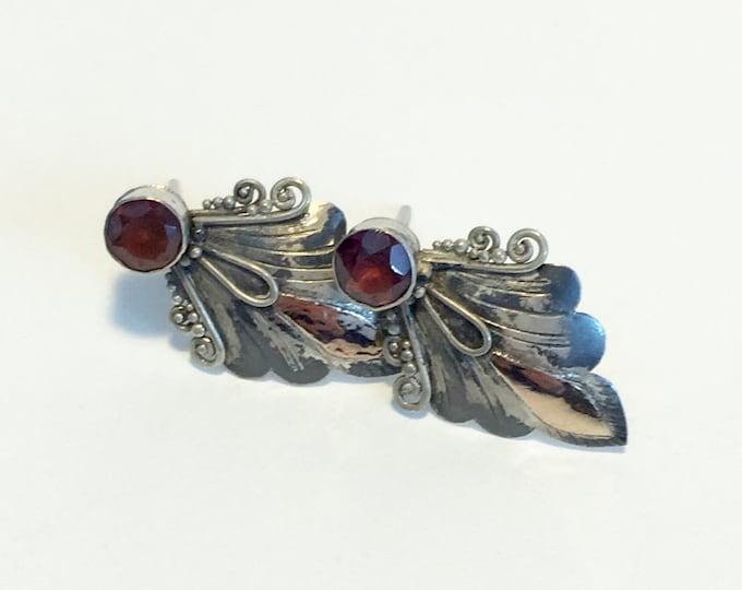 Vintage 925 Sterling Silver Post Red Gemstones Earrings - Garnet Earrings - Silver Scroll Design Red Gem Earrings - Statement Jewelry