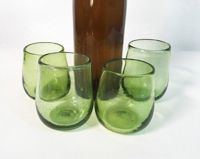 4 Vintage Hand Blown Glasses - Four Green Rocks, Juice Or Small Tumblers Retro Drinkware ca 1970s Late mid century