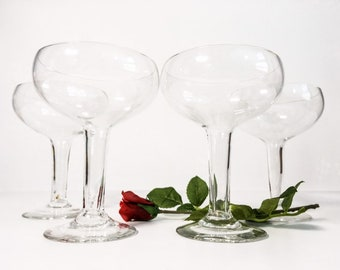 Champagne Glasses Vintage Hollow Stem  - Set 4 Hand Blown Glasses - Hollow Stem Champagne Glasses - 1940s Style