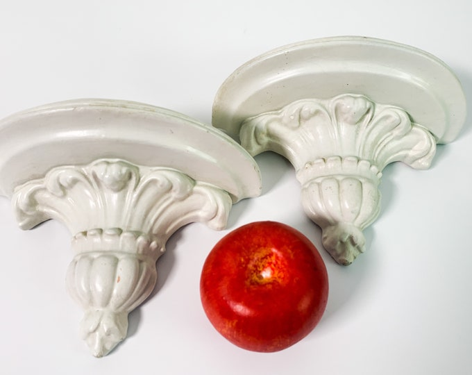 2 Vintage White Chalkware Ornate Wall Shelves - Pair Ivory Colored Wall Decor - Shabby Chic