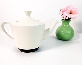 Vintage Two-toned Teapot Ivory (light tan) and Brown on Base - Ceramic Kitchen Serving Decor Mid Century Tea Pot w/ Classic Retro Shape