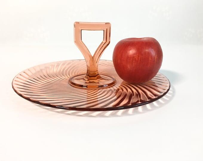 Vintage Jeanette Pink Swirl Glass Tidbit Tray Dish w/ Handle in Center - Retro Depression Era Serving Piece Circa 1930s