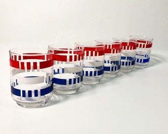 Set of 6 Vintage Libbey Red, White and Blue Drinking Glasses - Patriotic Tumblers - Colorful - Rocks or Juice Glasses - Vintage Barware