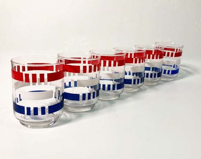 Set of 6 Vintage Libbey Red, White and Blue Drinking Glasses - Patriotic Tumblers - Colorful - Rocks or Juice Glasses - Vintage Barware