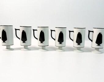 6 Vintage Capa Negra Coffee Espresso Mugs Cups - Zoro Ivory w/ Black Caped Man - Zorro Retro Demitasse Espresso Set in Original Box