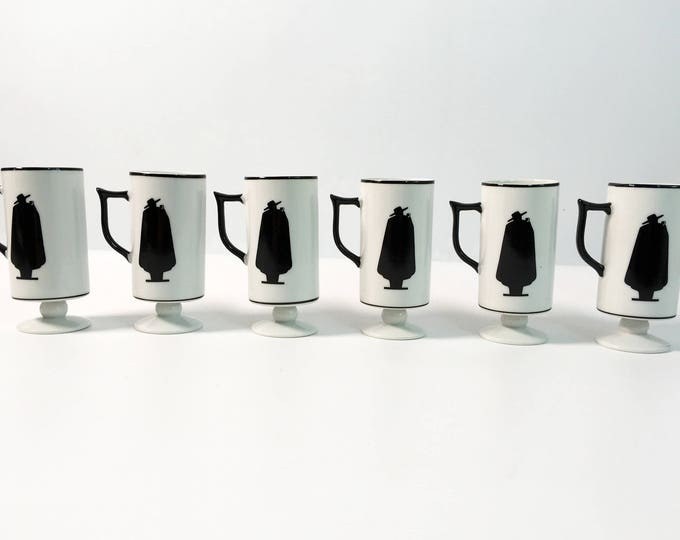 6 Vintage Capa Negra Coffee Espresso Mugs Cups - Zoro Ivory w/ Black Caped Man - Zorro Retro Demitasse Espresso Set in Original Box