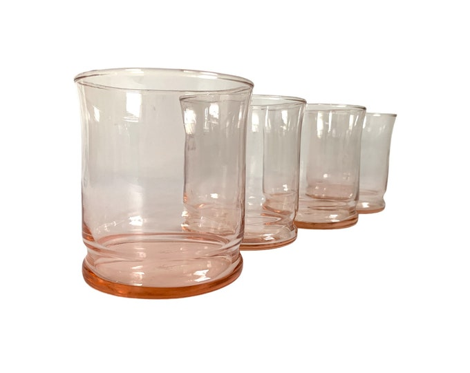 4 Vintage Pink Libbey Old Fashioned Glasses - Four Retro Light Pink Cocktail Barware Drinkware Glasses