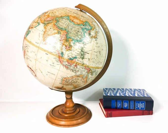"Vintage Beige, Turquoise, Orange & Brown Replogle 12"" World Classic Globe w/ Wood Base - Retro Library Home Office Decor Accent"
