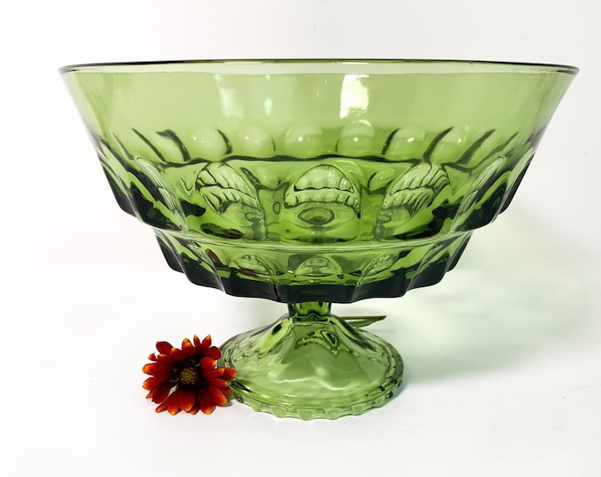 Vintage Green Pedestal Bowl w/ Thumbprint Impressions - Retro Fruit Bowl Home Decor Avocado Green