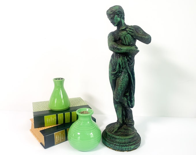 Vintage Statue Ancient Greek / Roman w/ Water Vessel - Large Heavy Chalkware Home Decor Dark Green