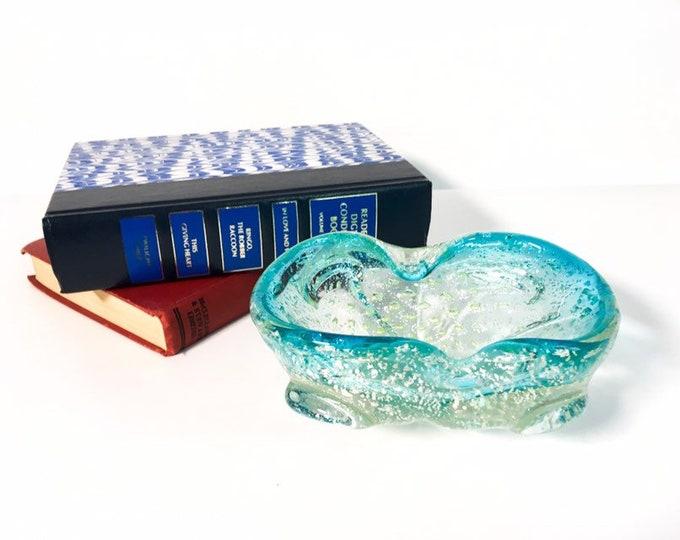 Vintage Clear Art Glass Dish w/ Blue Trim & Metallic - Oval Bubble Glass Bowl - Hand Blown Mid century Mod  Modern Boho Hippie Home Decor