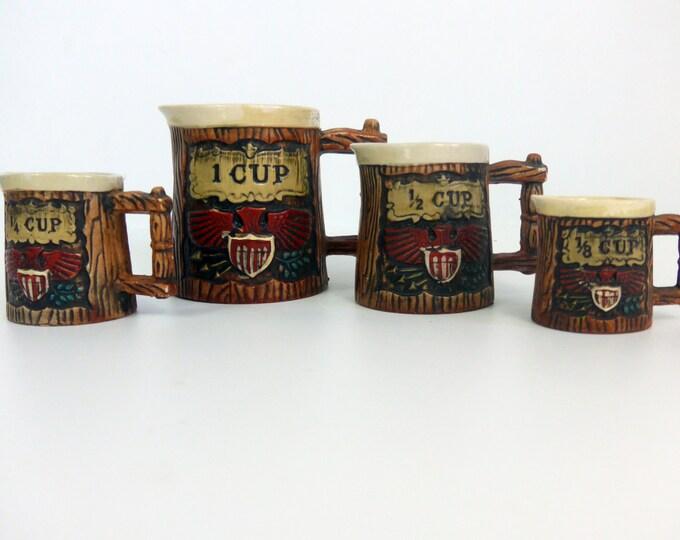 Vintage Napco Measuring Cup Set USA Americana 4 Piece w/ American Eagle Motif Stoneware Redware Japan Mid Century Bicentennial Kitchen Decor