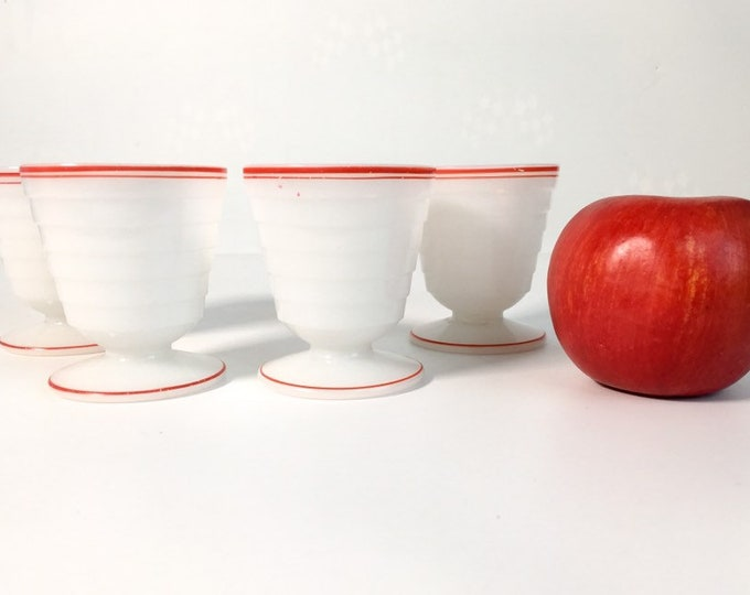 Vintage Set 4 Moderntone Ice Cream or Dessert Cups Hazel Atlas White Red Trim Depression Glass - Moderntone Platonite - Rare Dessert Serving