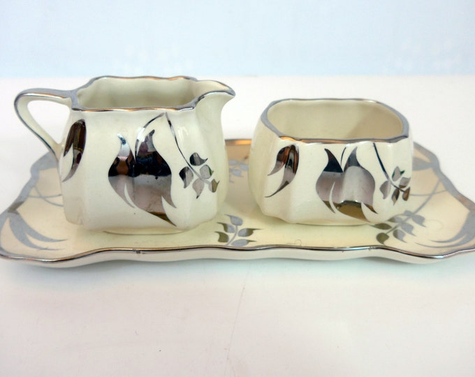 Sandland Ware Silver Leaf Pattern Luster Sugar & Creamer on Tray Set Lusterware - Lancaster Sandland Ltd Hanley England - 3 Pc Set Serving