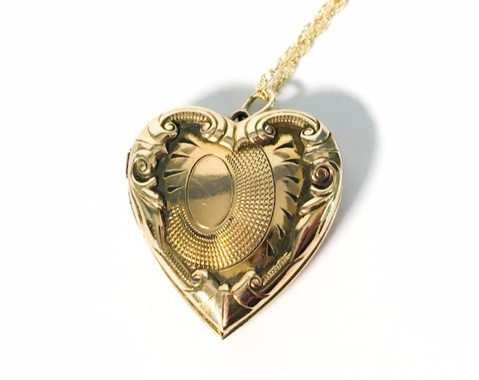 Vintage 10K Gold Filled Heart Locket Necklace on 14K Gold Fill Chain - Art Nouveau Sweetheart Pendant -  2 Photo Compartments Raised Designs