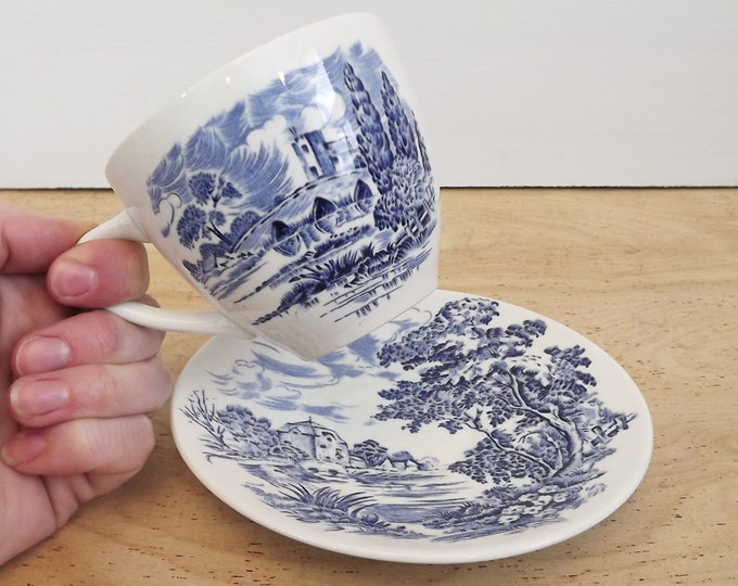 Vintage Wedgewood China Collection / Set - Countryside Pattern - Teacup and Saucer - Blue - Transferware - English Ironstone