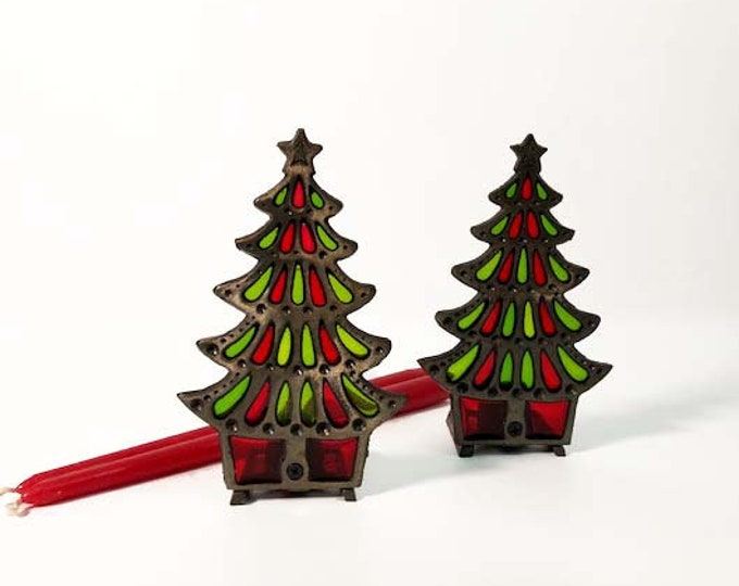 Vintage Pair of Stained Glass Christmas Tree Candle Holders - Iron Stand Lights Display - Christmas Decor - Colonial Candle Taiwan Set of 2