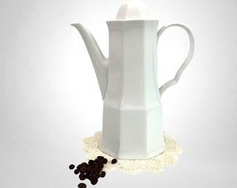 Vintage Maison Blanche Studio Nova White Porcelain Coffee Pot - Vintage Retro Mod Shape  Retro Kitchen Serving
