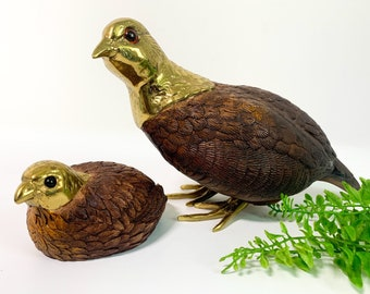 Vintage Pair Quail Mom & Baby by Thomas Branford England w/ Brass Accents 2 Partridges Statues Figurines