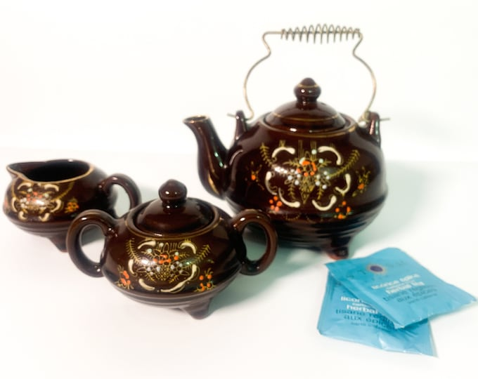 Vintage Redware Tea Service - Hand painted Pottery Shabby Chic Teapot Sugar & Creamer Florals Dark Brown/Metal Handle - Kitchen Serving