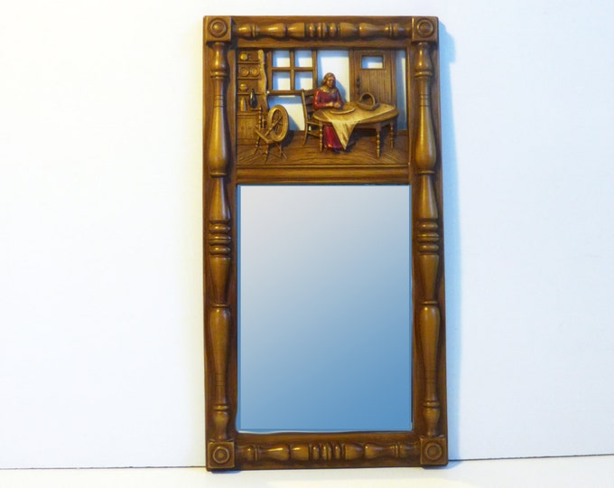 Vintage Wall Mirror Mid century - Syroco Brown Frame w/ Colored Colonial America Scene and Hanging Mirror - circa 1970 Wall Decor Mirror