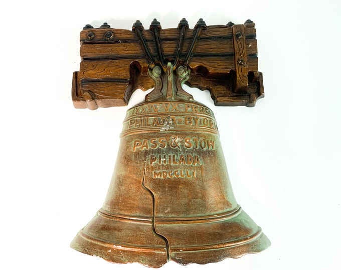 Vintage LARGE Metal Liberty Bell Wall Hanging - Sexton Wall Art Retro Mid century Decor USA America Patriotic 1776 Independence Philadelphia