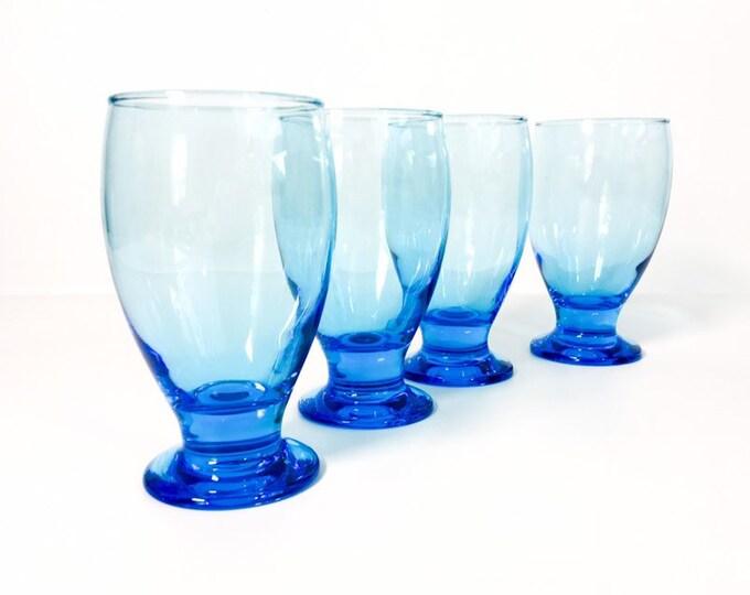 Vintage Set 4 Aqua Blue Tumblers - Blown Glass Drinking Glasses Retro Drinkware