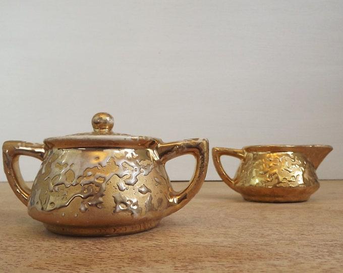 Vintage McCoy Sugar and Creamer Set Sunburst Gold Line 24K Gold -  Mid Century Serving - China Serving Set - Gold Glaze