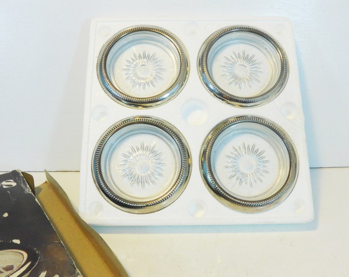 Vintage Silverplate & Crystal Glass Coasters - Set 4 Leonard Silver Plate Coasters Hallmarked Italy - Retro Coaster Set in Original Box