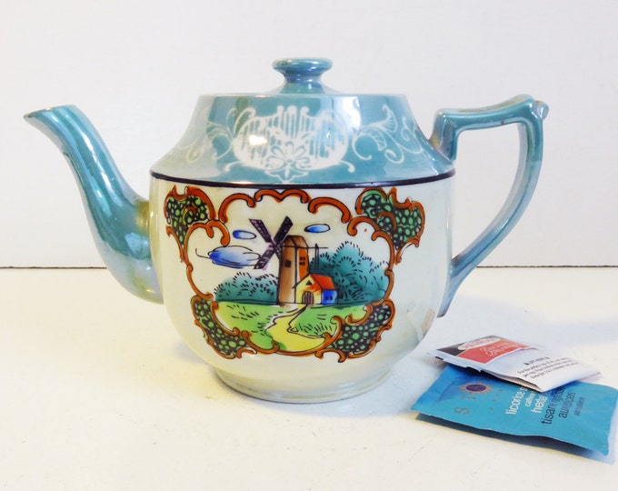 Vintage Lusterware Teapot Japan Turquoise w/ Windmill -  Hand painted Lusterware Teapot Vintage Tableware Kitchen Decor / Cottage