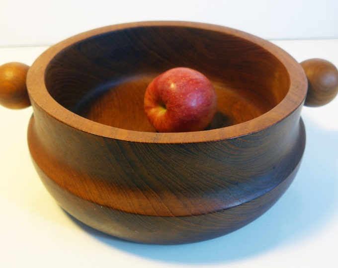 Vintage Mid Century Modern Salad Bowl - Unique Ball Handles Wood Mod Salad Bowl - Wooden Bowl Home Decor or Serving