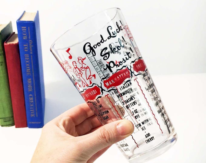 Vintage Drink Cocktail Recipe Glass - Good Luck! Skol Prosit Whiskey Sour Manhattan Martini - Federal Glassware - Red and Black Mid Century