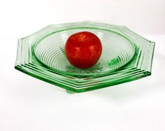Depression Glass Bowl - Green Round w/ Ridges Flower in Center 3 Legs - Vintage Retro Home Decor Pressed Glass