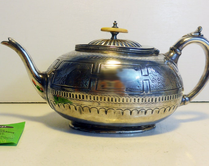 Antique Shaw & Fisher Sheffield Teapot / Coffee Pot - Art Nouveau w/ Bakelite Knob - Unique Shape Ornate Design Silver plate Late 1800s