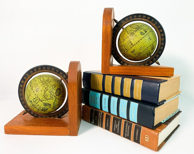 Vintage Wood Globe Bookends / Retro Library Home Decor Pair Matching Green World Globes on Wooden Frame - Globes Spin on Axis
