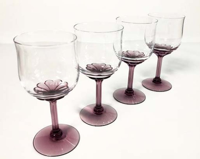 4 Vintage Purple Wine Glasses - Corsage Plum by Fostoria - Set of Four Amethyst Wine Cocktail Glasses - Retro Barware Glassware