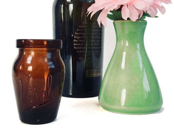 Vintage Virol Amber Glass Vase / Bottle - Mod Dark Amber Brown Retro Collectible Glass Bottle - Home Decor Circa 1940s Health Compount