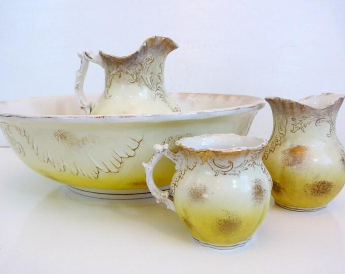 Antique Maddock's Lamberton Works Set Bowl Pitchers Jar 4 Pc Toilet Set - Yellow w/ Gold Accent Bathing Set - Shabby Chic Bowl & Pitcher Set