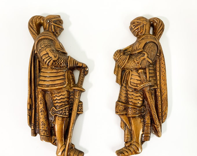 Pair Mid century LARGE Wall Decor - 2 Chalkware 3D Knight Plaques - Vintage Home Decor Man Cave Kitsch Medieval Armor